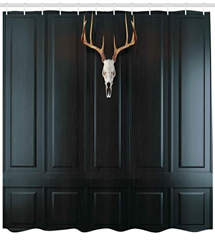 Ambesonne Antlers Decor Collection, Deer Skull with Horns on Wooden Wall Panel Hunting Interior Decorating Picture, Polyester Fabric Bathroom Shower Curtain Set with Hooks, Dark Brown Peru Ivory