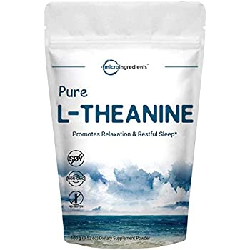 Pure L-Theanine Powder, 100 Grams, Supports Stress, Anxiety Relief and Promotes Mood Balancing and Sleep, No GMOs and No Gluten.
