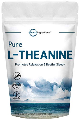 Pure L-Theanine Powder, 100 Grams, Supports Stress, Anxiety Relief and Promotes Mood Balancing and Sleep, No GMOs and No Gluten. ()