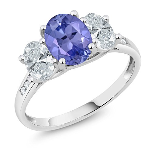 Tanzanite Gold White Jewelry Ring (10K White Gold Diamond Accent Oval Blue Tanzanite 3-Stone Ring 2.02 Ct, Available in size (5,6,7,8,9))