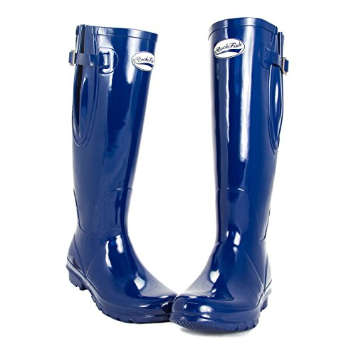 Women's Wide Rockfish Navy Wellies Samba and Gloss Calf Red Standard Adjustable Fit UwwxZRqda