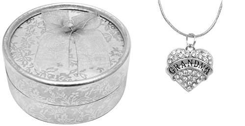 Mother's Day Gift Best Grandma Ever Poem Boxed Jewelry Gift Set Engraved Pendant Necklace Jewelry For Grandma Crystal Adorned Heart Shaped Pendant Snake Chain Necklace Gift Box for Grandma Colorless