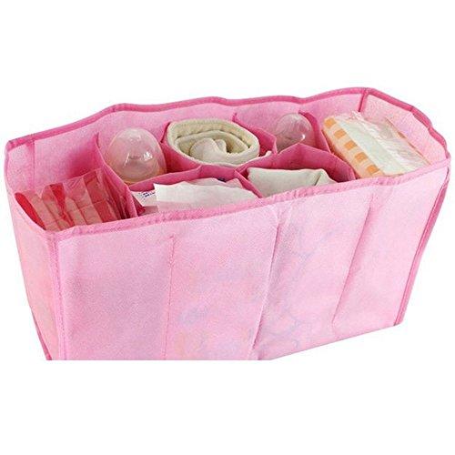 youpin Baby Windel Windel Wasser Flasche Trennwand Lagerung Organizer Wickeltasche (Pink 7Zellen)