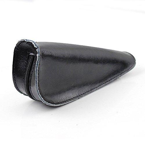 Portátil piel única funda de pipa de tabaco para fumar bolsa de soporte de tubo, hombre, negro negro