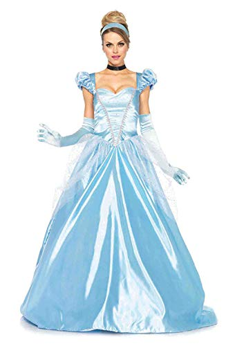 Cinderella And Prince Halloween Costumes (Leg Avenue Women's Classic Cinderella, Blue,)