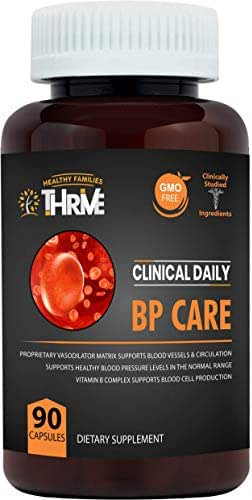Blood Pressure Support. BP Optimizer & Heart Health Supplement with Folic Acid, Niacin, Garlic, Uva Ursi, Hawthorne Berry Extract, Buchu, Hibiscus, Vitamins B6 B12 C. 90 Capsules. Clinical Daily