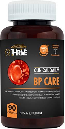 Blood Pressure Support. BP Optimizer & Heart Health Supplement with Folic Acid, Niacin, Garlic, Uva Ursi, Hawthorne Berry Extract, Buchu, Hibiscus, Vitamins B6 B12 C. 90 Capsules. Clinical Daily (Best Vitamins To Take)