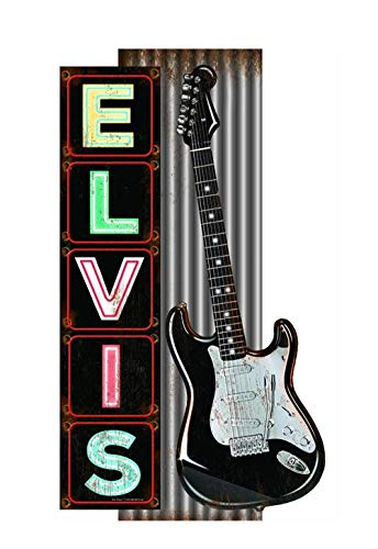 - Elvis Presley Marquee Style Metal Wall Sign with Guitar