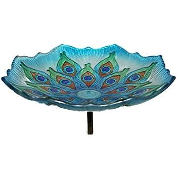 "Evergreen Peacock Glass Bird Bath Bowl with Metal Stake - 11""L x 11""W x 26.75""H"