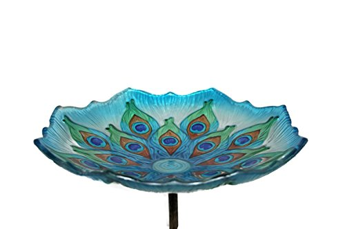"Evergreen Peacock Glass Bird Bath Bowl with Metal Stake - 11""L x 11"