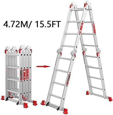 WYNZYYX 4.72m / 15.5ft 4 Peldaños Escaleras Telescópicas Altas ...