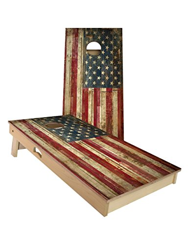 (American Cornhole Association Official Cornhole Board and Bags Set with Vintage American Flag Design -Bean Bag Toss Outdoor Game - Made with Heavy Duty Solid Wood - ACA Regulation Size)