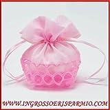 Sacchetto per confetti in doppio tessuto rosa nella parte superiore in organza nella parte inferiore tulle rigido traforato da femminuccia, completo di laccetto per chiusura - Bomboniere nascita,battesimo,comunione (kit 12 pz con confetti bianco)