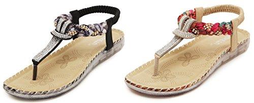 Thong Summer Sandals JX00007 Bohemian Black Glitter Shoes 546 Prime DolphinGirl Flat HwYf6xCCq