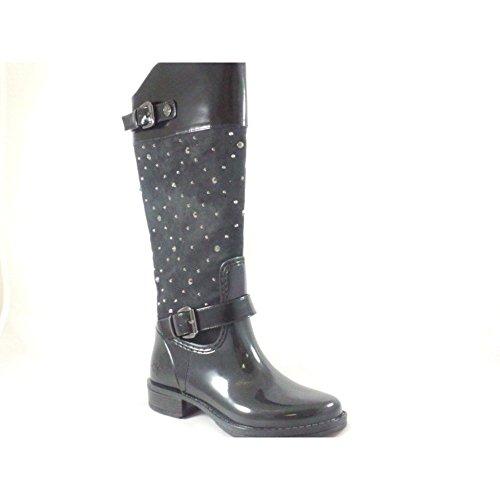 Lotus Posh Wellies Alejandrita rodillera botas en gamuza negra