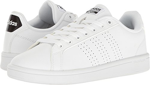 adidas Women's Shoes Cloudfoam Advantage Clean Sneakers, White/White/Black, (7.5 M US)