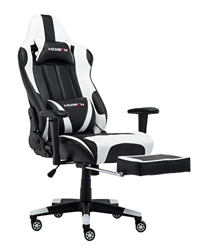 Morfan Gaming Chair High Back Computer Racing Swivel Executive Desk Chair with Retractable Footrest and Lumbar Massager Support (Black/White) … Review