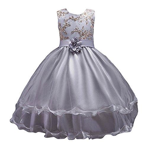 LSERVER-Flor vestido de los niñas para las fiestas en primavera u otoño  Gris 170 4bedefec36ba