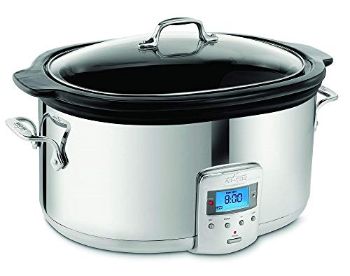 All-Clad SD700450 Programmable Oval-Shaped Slow Cooker with Black Ceramic Insert and Glass Lid