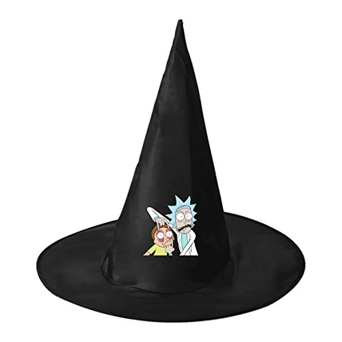 Rick and Morty Trick Unisex Adult women men Black Witch Hat Halloween cosplay Costume Accessory (Rick And Morty Halloween Costume)