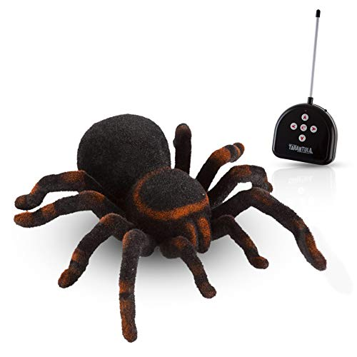 Advanced Play Remote Control Spider Toy Realistic 8 inch Tarantula Animal Figures Funny Prank Joke Scare Gag Gifts for Halloween Christmas Party décor Birthdays Holidays April Fool Pranks -