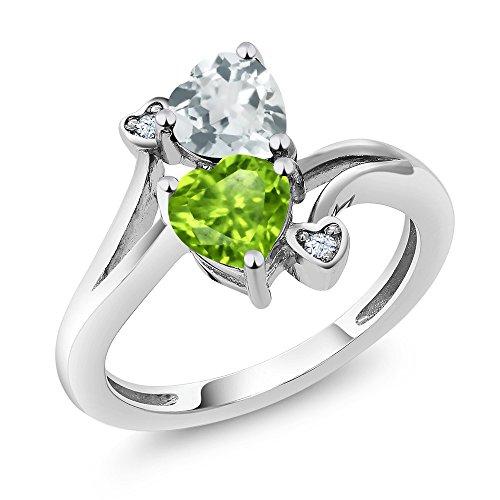Aquamarine Heart Ring - 1.53 Ct Heart Shape Green Peridot Sky Blue Aquamarine 925 Sterling Silver Ring