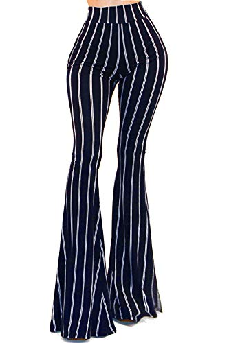 Vivicastle Women's USA Boho Comfy Stretchy Bell Bottom Flare Pants (BP52, Navy, ()
