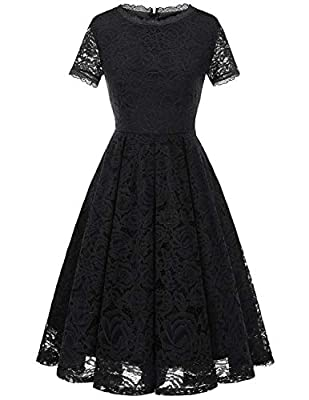DRESSTELLS Women's Bridesmaid Vintage Tea Dress Floral Lace Cocktail Formal Swing Dress