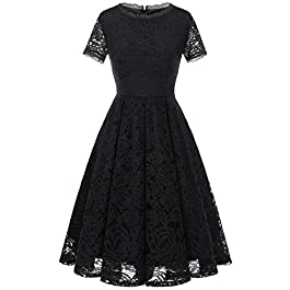 DRESSTELLS Women's Bridesmaid Elegant Tea Dress Floral Lace Cocktail Formal Swing Dress
