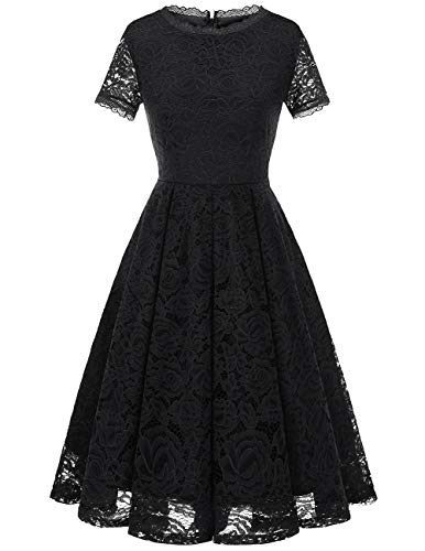 DRESSTELLS Women's Bridesmaid Vintage Tea Dress Floral Lace Cocktail Formal Swing Dress Black S ()