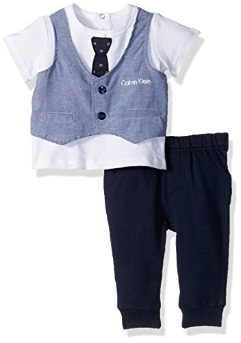 Infant 2 Piece Pant (Calvin Klein Baby Boys' 2 Pieces Pant Set-French Terry, Blue, 12M)
