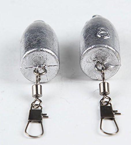 10 25G Fishing Weight Bullet Lead Sinker Rolling Swivel Interlock Snap Connector