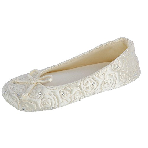 ISOTONER Women's Rose Quilted Satin Ballerina Slippers with Rhinestones Ivory X-Large 9.5-10.5 by ISOTONER