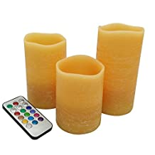 """Honey Orange Led Pillar candles with timer,real wax rustic effect with lime scented , Remote control Flickering color changing candles 3pcs set , tall 4"""", 5"""", 6inch"""