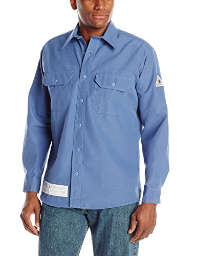 Bulwark Flame Resistant 4.5 oz Nomex IIIA Regular Uniform Shirt with Tailored Sleeve Placket, Topstitched Cuff, Gulf Blue, Medium
