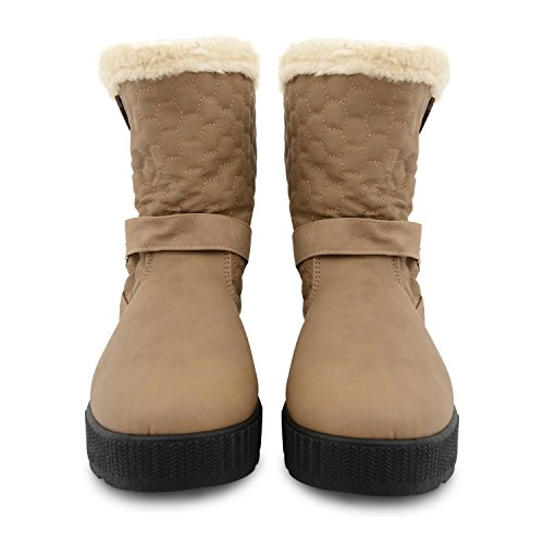 Shoes Ankle Thick Quilted Womens Faux Fur UK Button Sole Mid Khaki Calf Boots Lined Ladies 2 Sizes Girls fxxA7
