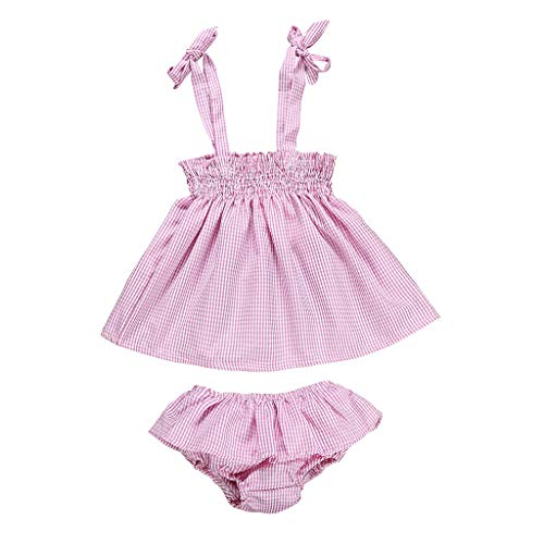 (Newborn Kids Baby Girls Outfits Clothes Plaid Sleeveless Tops+Shorts Pants Set)