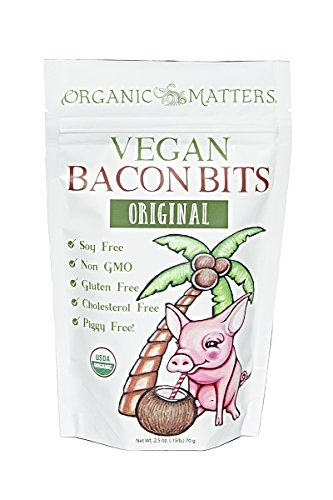 """Vegan Bacon Bits - USDA Organic - Crunchy plant based """"bacon"""" bits made from coconut chips - Soy Free 