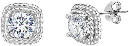18K White Gold Sterling Silver Round Halo Cubic Zirconia Double Strand Rope Design Border Post Earring