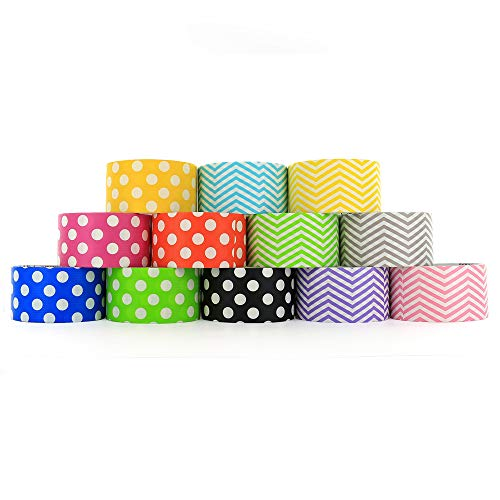 RamPro Chevron & Polka Dot Styles Heavy-Duty Duct Tape   Assorted Colors Pack of 12 Rolls, 1.88-inch x 5 Yard. by Ram-Pro (Image #1)