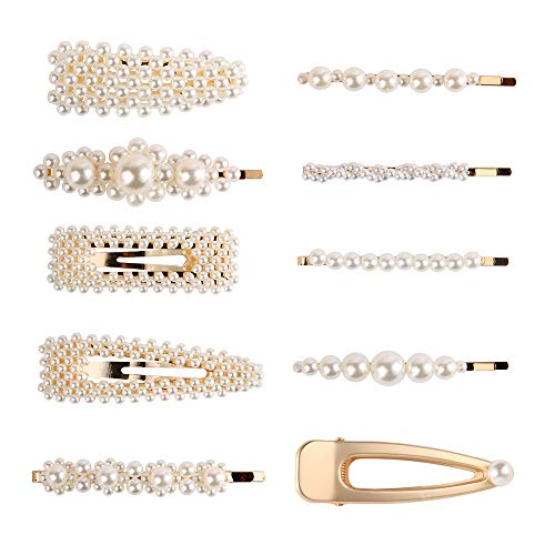 2019 Fashion Imitiation Pearl Hairpins Korea Vintage Flower Barrettes Long Hair Clips Accessory Handmade Metal Golden Hairgrip for Women Girls (10 PCS)