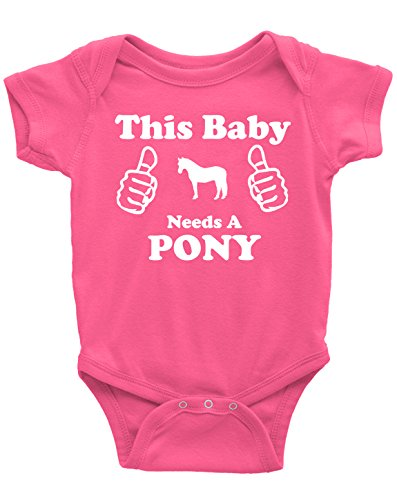 This Baby Needs a Pony - Short Sleeve Horse Bodysuit for Infant Boys Girls and Surprises (Raspberry, 6 Months)