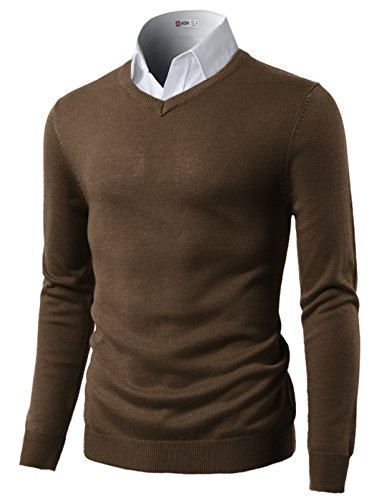 H2H Men's Wool Blend Solid V-Neck Sweater Pullover Brown US 3XL/Asia 4XL (CMOSWL015)