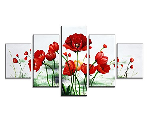 Moyedecor Art - Large Size 5 Panels Modern Giclee Canvas Prints Red Flowers