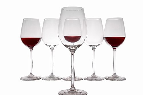 Red Wine Blends Bordeaux (Crystal Red Wine Glasses Set of 6, Long Stem, Dailyware for Bordeaux, Merlot, Burgundy, Cabernet, Pinot Noir, Port Blends , 11.8 Ounces (350 Milliliters))