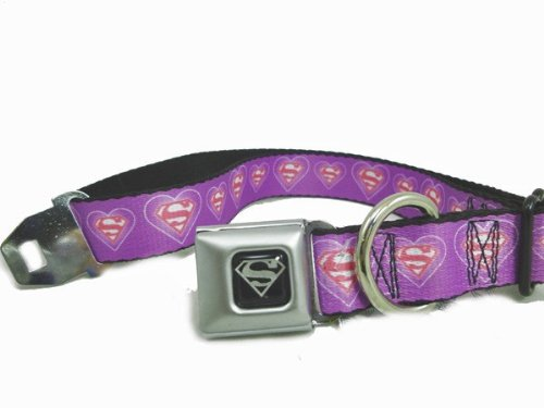 "Superman Lavender Pink Logo Hearts Seat Belt Buckle Dog Collar Wide 1.5"" x 18-32 inches"