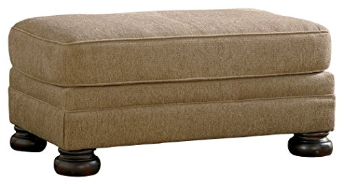 Sandy Brown Leather (Ashley Furniture Signature Design - Keereel Ottoman - Rectangular with Plush Upholstery - Traditional - Sand)