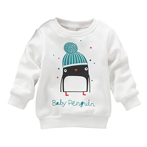 Timall Baby Girl Penguin Long Sleeve Cotton White Hoodies Sweater Clothing