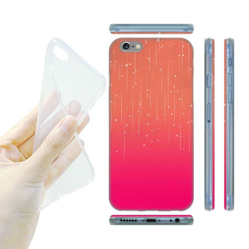 Head Case Designs Peach Pink Neon Rain Ombre Gel Back Case Cover for Apple iPhone 6 4.7