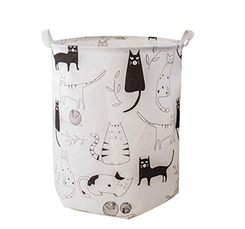 LEELI Laundry Hamper with Handles-Collapsible Canvas Basket for Storage Bin,Kids Room,Home Organizer,Nursery Storage,Baby Hamper,19.7×15.7(Kitty)